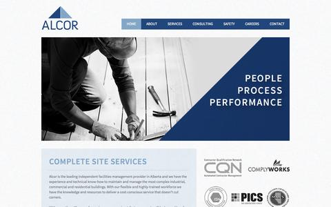 Screenshot of Home Page alcorfacilities.com - Alcor Facilities | People. Process. Performance. - captured Oct. 4, 2014
