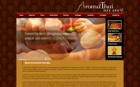 Screenshot of About Page aromathai.net - Best Thai Foot Spa and Foot Massage in Mumbai and Delhi - Aromathai.net - captured Sept. 23, 2014
