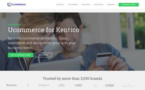 Screenshot of Home Page ucommerce.net - Ucommerce – leading platform for content and commerce on Umbraco, Kentico & Sitecore - captured Nov. 3, 2017