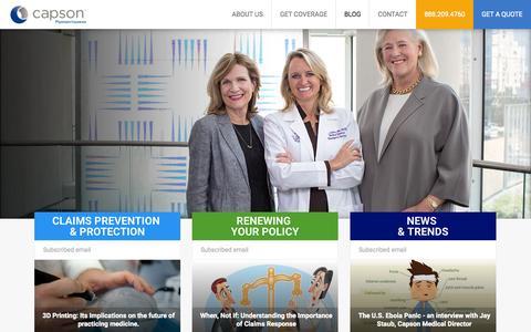 Screenshot of Blog capson.com - Medical Malpractice Advisory and Guidance - captured July 18, 2015