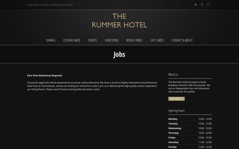 Screenshot of Jobs Page therummer.net - Jobs | The Rummer Hotel | Bristol - captured Oct. 6, 2014