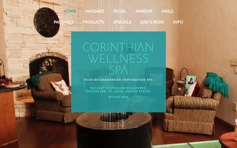 Screenshot of Home Page corinthianspa.com - Corinthian Wellness Spa - captured Jan. 31, 2016