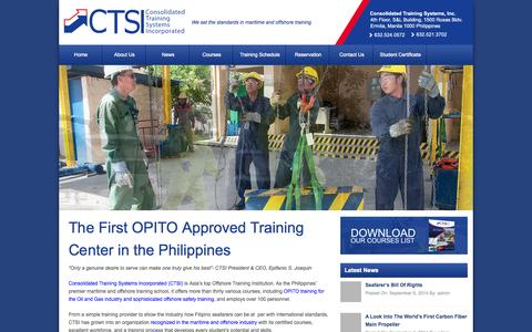 Screenshot of Home Page ctsi.com.ph - Top Maritime & Offshore Training Center Philippines – CTSI | We set the standards in maritime and offshore training - captured Sept. 24, 2014