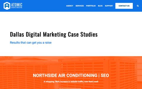 Screenshot of Case Studies Page atomicdc.com - Dallas Digital Case Studies | Digital Success Stories | AtomicDC - captured Nov. 13, 2018