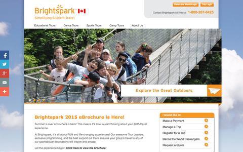 Screenshot of Home Page brightsparktravel.ca - Brightspark Travel Canada | Contact Brightspark toll-free at 1-800-267-6425 - captured Oct. 5, 2014