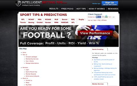 Screenshot of Site Map Page intelligentbettingtips.com - Site Map - Intelligent Betting Tips & Picks : Intelligent Betting Tips - captured Oct. 6, 2014