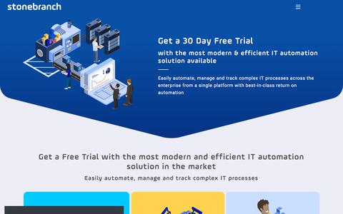 Screenshot of Trial Page stonebranch.com - 30 Day Free Trial - captured Sept. 21, 2018
