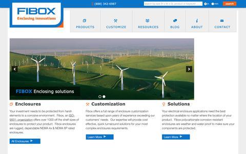 Screenshot of Home Page fiboxusa.com - NEMA 4X non-metallic polycarbonate enclosures - captured Oct. 2, 2018