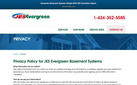 Screenshot of Privacy Page evergreenbasement.com - Privacy Policy - captured Sept. 26, 2016