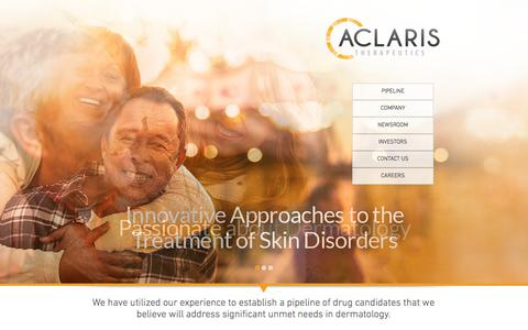 Screenshot of Home Page aclaristx.com - Aclaris Therapeutics (ACRS) | Dermatology Pharmaceutical Company - captured Feb. 21, 2016