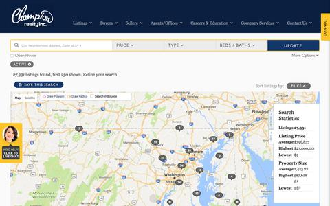 Screenshot of Maps & Directions Page championrealty.com - All Property Types in All Cities - captured July 24, 2017