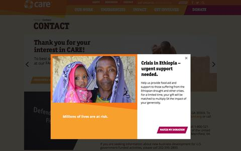 Screenshot of Contact Page care.org - Contact   CARE - captured April 27, 2016
