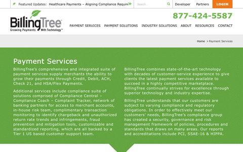 Screenshot of Services Page mybillingtree.com - Payment Services | BillingTree - captured Nov. 22, 2016