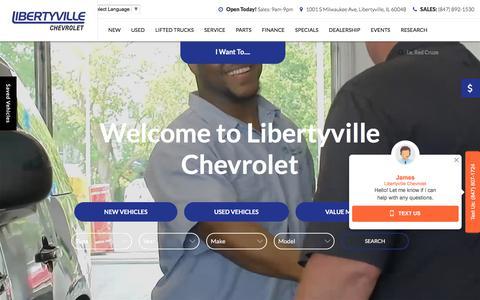 Screenshot of Home Page libertyvillechevrolet.com - Libertyville Chevrolet Dealership in Libertyville, Illinois - captured July 18, 2018