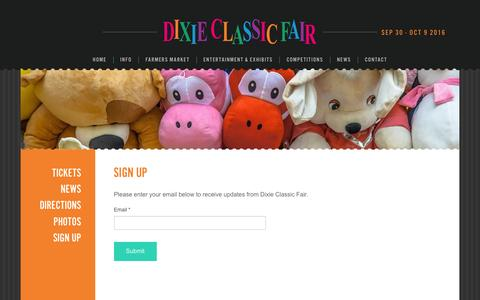 Screenshot of Signup Page dcfair.com - Sign Up - Dixie Classic Fair - captured Feb. 9, 2016