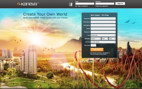 Screenshot of Home Page kaneva.com - Kaneva. Imagine What You Can Do. - captured Sept. 23, 2014