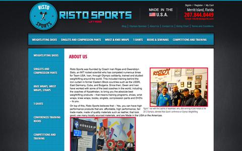 Screenshot of About Page ristosports.com - About Us: Risto Sports, Best Weight Lifting Shoes, USA Singlets, Knee Wraps, weightlifting shoes - captured Nov. 16, 2017