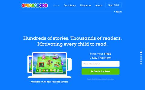 Screenshot of Home Page speakaboos.com - Children's Books Online | Free Trial | Speakaboos - captured July 15, 2015