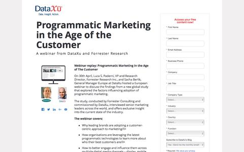 Screenshot of Landing Page dataxu.com - Programmatic Marketing webinar with Forrester and DataXu - captured Aug. 22, 2016