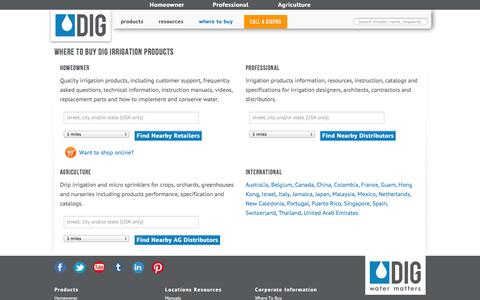 Screenshot of Locations Page digcorp.com - DIG's, Advanced, Eco-Friendly Drip Irrigation Products, Ambient Light (Solar), and Battery Operated Controllers for commercial, residential and agricultural - captured Sept. 19, 2014