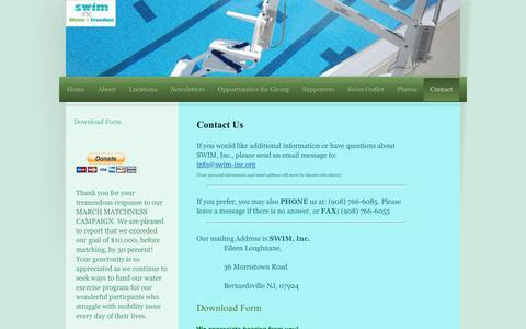 Screenshot of Contact Page swim-inc.org - Swim-inc - Contact - captured June 13, 2016