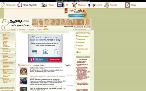 Screenshot of Team Page grioo.com - Grioo.com : Rubrique Management, page 1 - captured Oct. 30, 2014