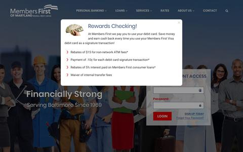 Screenshot of Home Page mfirstcu.org - Members First of Maryland Federal Credit Union - Baltimore, MD - captured July 3, 2018