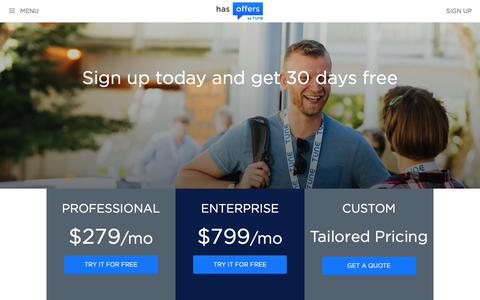 Screenshot of Signup Page Pricing Page hasoffers.com - HasOffers | Pricing, Features, and Free Trial - captured June 11, 2017