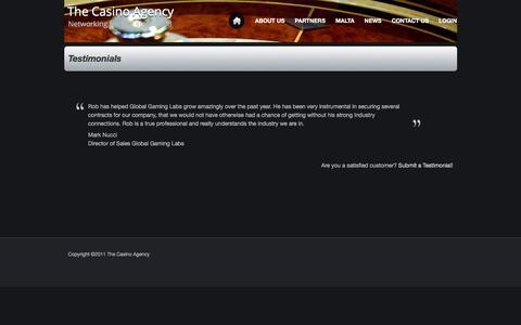 Screenshot of Testimonials Page thecasinoagency.com - Testimonials - captured Dec. 13, 2016
