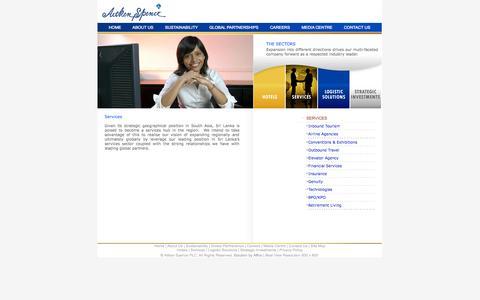 Screenshot of Services Page aitkenspence.com - Services - Aitken Spence PLC - captured Sept. 25, 2014
