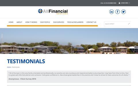 Screenshot of Testimonials Page afsnt.com.au - Testimonials | All Financial Services NT - captured Nov. 20, 2016