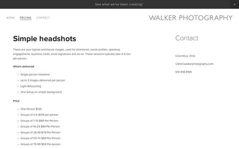 Screenshot of Pricing Page cwalkerphotography.com - Pricing-Walker Photography - captured Nov. 16, 2018