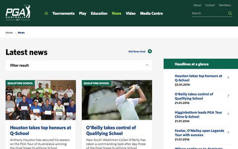 Screenshot of Press Page pga.org.au - News - PGA - captured Jan. 24, 2016