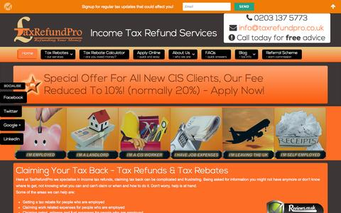 Screenshot of Home Page taxrefundpro.co.uk - Home - Tax Rebates For Expenses, Petrol, Mechanic Tools and More - captured Jan. 26, 2015