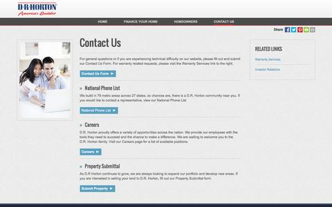 Screenshot of Contact Page drhorton.com - Contact Us | D.R. Horton - captured Nov. 29, 2016