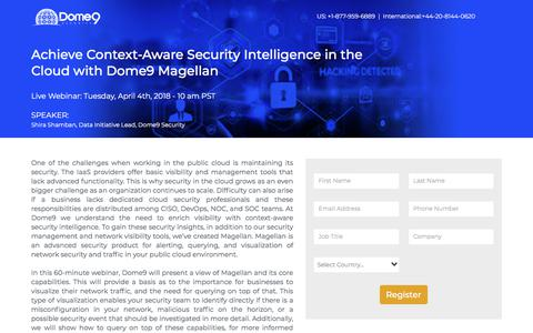 Screenshot of Landing Page dome9.com - Achieve Context-Aware Security Intelligence in the Cloud with Dome9 Magellan - captured March 31, 2018