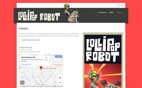 Screenshot of Contact Page lollipoprobot.com - Lollipop Robot: Game Testing and QA » Contact - captured Dec. 8, 2018
