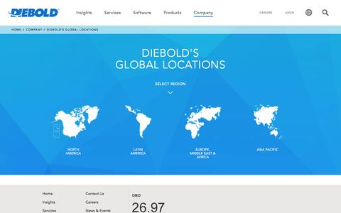 Screenshot of Locations Page diebold.com - Diebold's Global Locations - captured Feb. 8, 2016