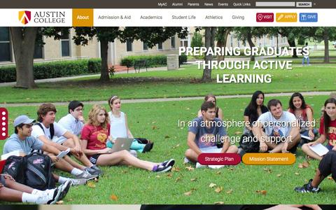 Screenshot of About Page austincollege.edu - About Austin College | Sherman, TX - captured Aug. 2, 2015