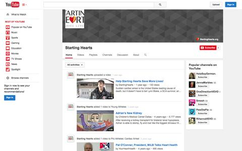 Screenshot of YouTube Page youtube.com - Starting Hearts  - YouTube - captured Oct. 22, 2014