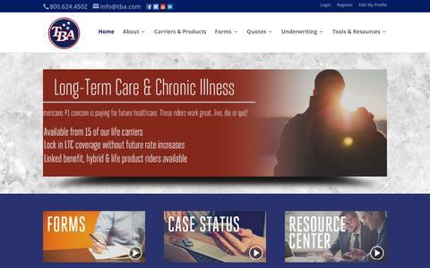 Screenshot of Home Page tba.com - TBA | - captured Oct. 31, 2016