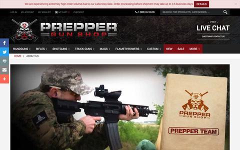 Screenshot of About Page preppergunshop.com - About Us | Prepper Gun Shop - captured Sept. 5, 2016