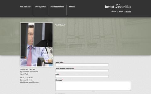 Screenshot of Contact Page invest-securities.com - Contact | Invest Securities - captured Sept. 30, 2014