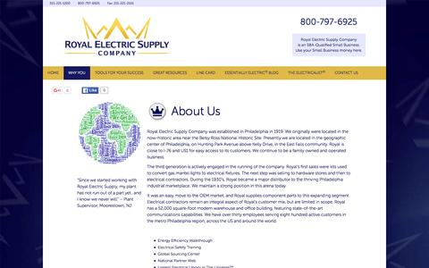 Screenshot of About Page royalelectric.com - About Us - Royal Electric Supply Company - captured Feb. 16, 2016