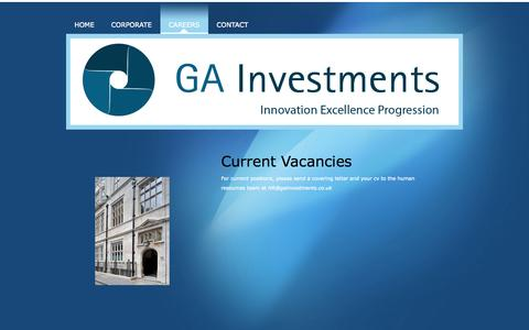 Screenshot of Jobs Page gainvestments.co.uk - Careers - GA Investments - captured Sept. 26, 2014