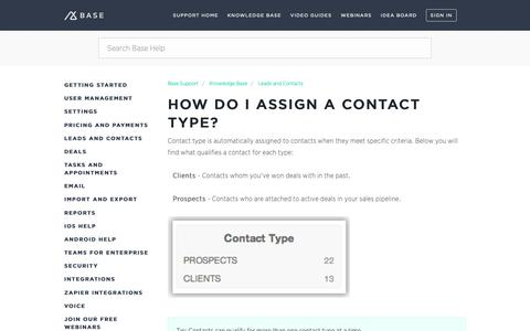 Screenshot of Support Page getbase.com - How do I assign a contact type? – Base Support - captured Oct. 9, 2018