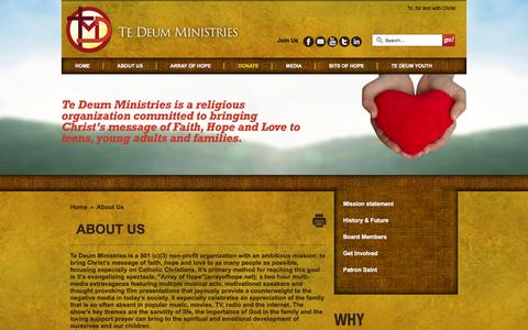 Screenshot of About Page tedeumministries.org - About Us - captured Jan. 10, 2016