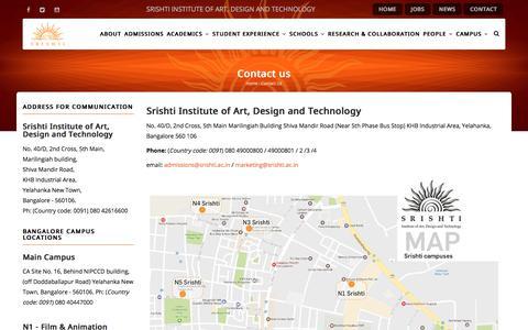 Contact us | Srishti Institute of Art, Design and Technology