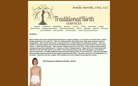 Screenshot of Products Page traditionalbirthservices.com - Products | Traditional Birth Services | Brenda Parrish - captured Feb. 16, 2016