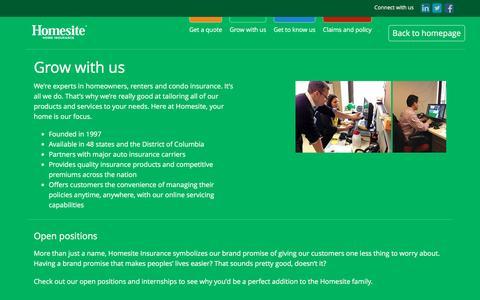 Screenshot of Jobs Page homesite.com - Homesite - Home Insurance - captured Jan. 31, 2016